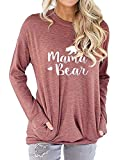 Freemale Womens Mama Bear Sweatshirt Long Sleeve Pullover Casual Pocket Blouses Brick Red