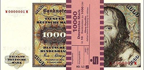 *** 10 x 1000 DM, Deutsche Mark, Geldscheine 1980, mit Banderole - Reproduktion ***
