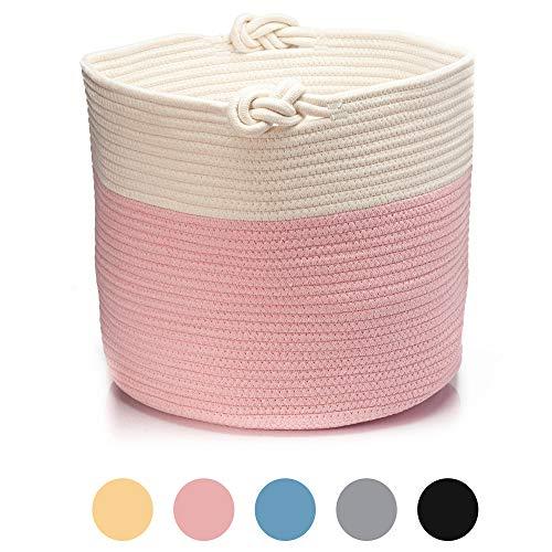 Skojig Großer Wäschekorb aus Leinen in 5 Farben (38x33cm, 45x35cm & 55x35cm) - Wäschesammler Wäschesack Korb für Kinderzimmer...