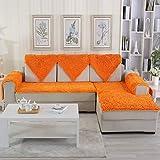YEARLY Hochwertiger Chenille Sofa pad Stoff nach maß europäischen einfache Moderne Anti-rutsch Vier Jahreszeiten Leder Sofa plüsch Kissen Winter-taobao-orange 70x120cm(28x47inch)