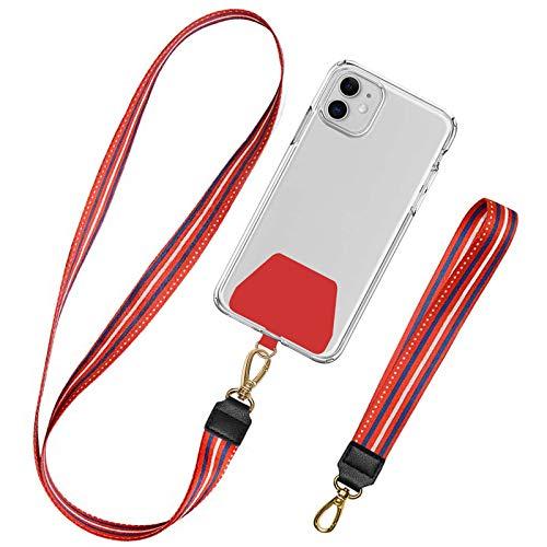 takyu Universale Handykette, Schlüsselband zum Umhängen Kompatibel mit iPhone/Samsung/Huawei/Xiaomi (1 Halsband + 1 Handschlaufe, Begeistert Rot)