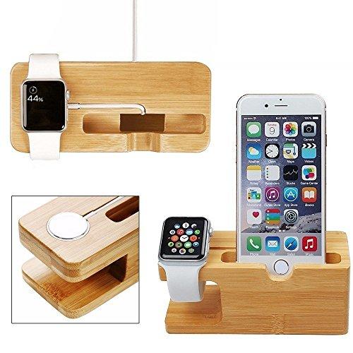Apple Watch stand, Xphonew bambù legno multifunzione caricabatteria supporto di ricarica dock/stazione/culla/supporto per iPhone 7Plus 75S 66S Plus 5se iWatch 38mm e 42mm Samsung Galaxy S6S7mobile phone