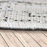 Paco Home In- & Outdoor Teppich Vintage Design Rautenmuster Flachgewebt In Grau, Grösse:80x150 cm - 2