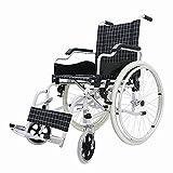 WDDMFR Ultraleichter Rollstuhl für Erwachsene - mit wegklappbarer Fußstütze und Tragetaschen - Einfache Übertragung - 34 cm Sitzfläche -