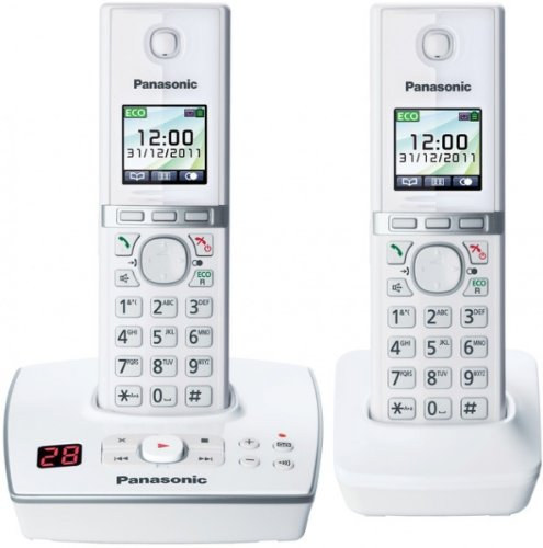 Panasonic KX-TG 8062 EW Cordless Phone, 2 Handsets (White)