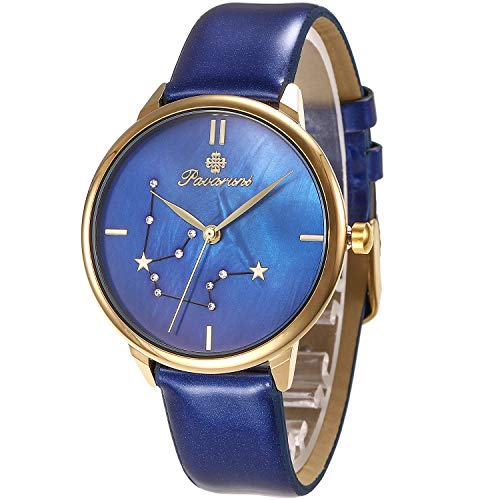 Pavaruni Original12 Constellation Galaxy Watch,Midnight Planetarium Universe Planet Starry Sky Star Sign(1_Aquarius/Water Carrier/Water Bearer)