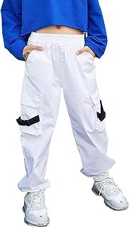 Qin.Orianna Pantalones cargo para niños y niñas, de algodón, para hip hop, jazz, danza callejera