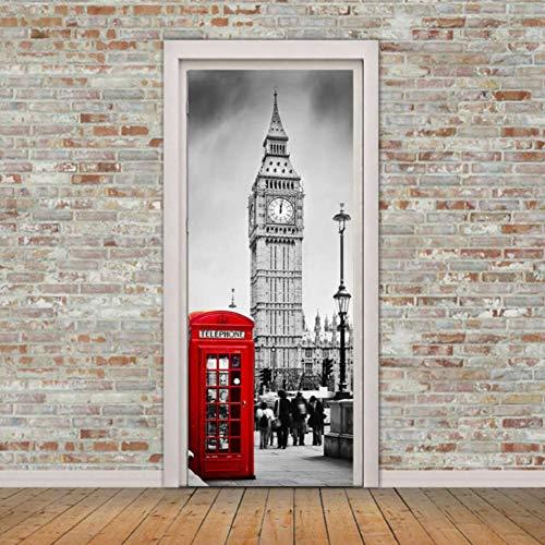 Póster 3D Foto de la puerta Murales Londres y blanco Londres Big Ben cabina de teléfono roja Papel tapiz Desmontable Autoadhesivo Dormitorio Casa Puerta Sala de estar Oficina Oficina (77x200cm)