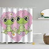 N/X Duschvorhang Duschvorhang Frosch Lustiges Tier Grün Süßer Frosch Mit Lotus Cartoon Buttefly Frosch Auf Dem AST Der Baum Vorhänge
