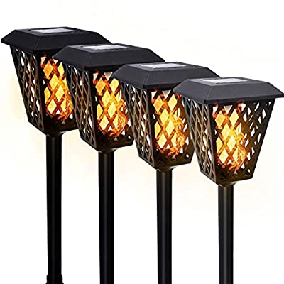 Solar Torch Light with Flickering Flame Dancing 4 Pack, Aigostar Waterproof 72 LED Outdoor Solar Spotlights Landscape Lighting for Patio Pathway Garden with Auto On/Off Dusk to Dawn