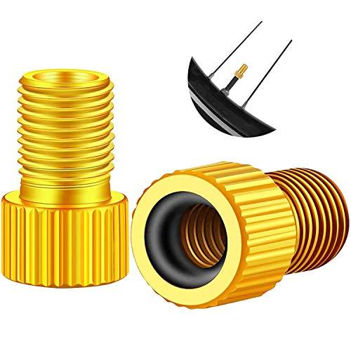MICHETT Adaptador de válvula para bicicleta, de latón, adaptador de válvula de neumático, convertidor con anillo de sellado, de válvula DV/SV/Dunlop/válvula francesa a válvula de coche (10 unidades)