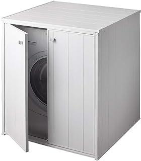 Negrari XXL Meuble machine laver sèche-linge grand hublot kit montage buanderie salle bain intérieur extérieu portes batta...