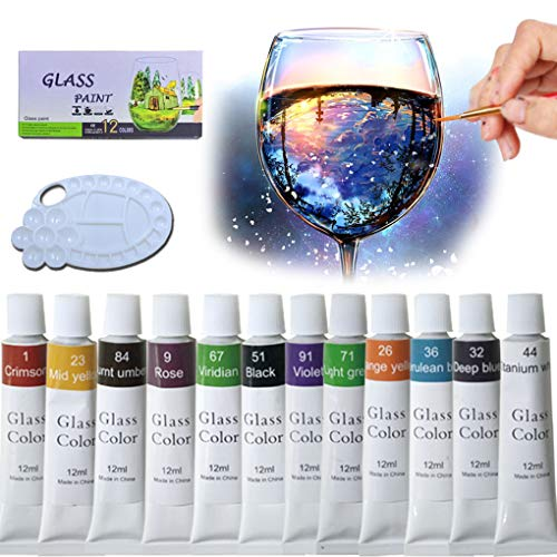 iMustech Glass Paint Set 12 Colors Non-Toxic Craft Porcelain Paint with Palette, Transparent Stained Glass Ceramic Window Paint Kit for Wine Glass Bottle Light Bulbs Plastic Ornaments(0.4 fl.oz/Tube)