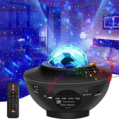 Proyector de Luz Estelar, LED Luz de Noche Nebulosa Giratorio, Reproductor de Música Bluetooth Incorporado, Lámpara Nocturnas con Remoto y Temporizador, Dormitorio Infantil/Fiesta/Decoración