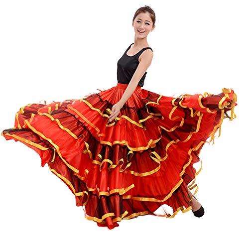 LOLANTA Red Tulle Frill Spanischer Flamenco-Tanzrock für Frauen Bauchtanz-Ballsaalrock mit Kopfbedeckung (360 Grad, rot)