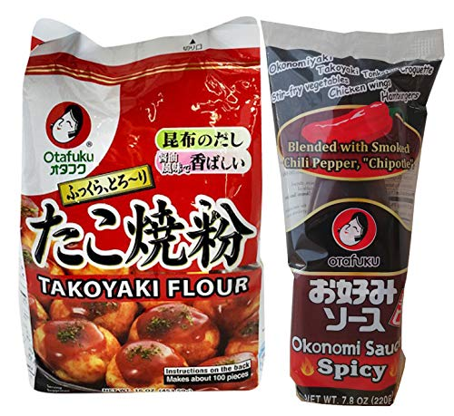 Otafuku Takoyaki Flour and Spicy Chipotle Sauce |Spicy Takoyaki Combo | 16 Oz and 7.8 Oz