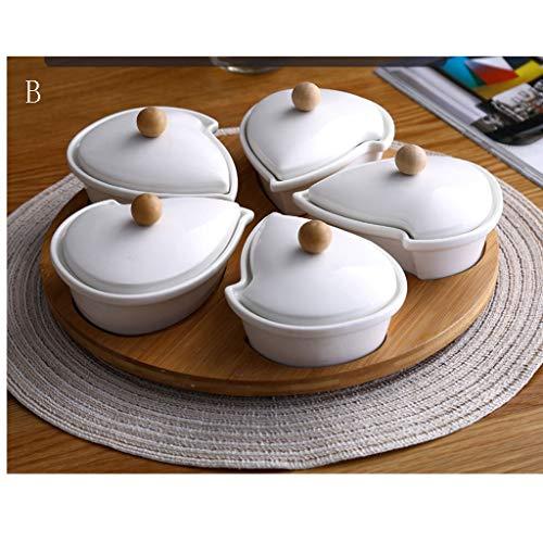 Lazy Susan Keramik-Schüssel-Set,drehbar,gebogene Form,Servierplatte,ideal für Appetizer- und Snack-Tablett Drehbares Serviertablett mit 5 Schalen aus weißem Porzellan und einem Tablett aus Bambus.