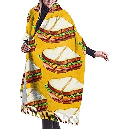 Ham Sandwich patroon Womens sjaal grote lange deken check wrap sjaal met kwast
