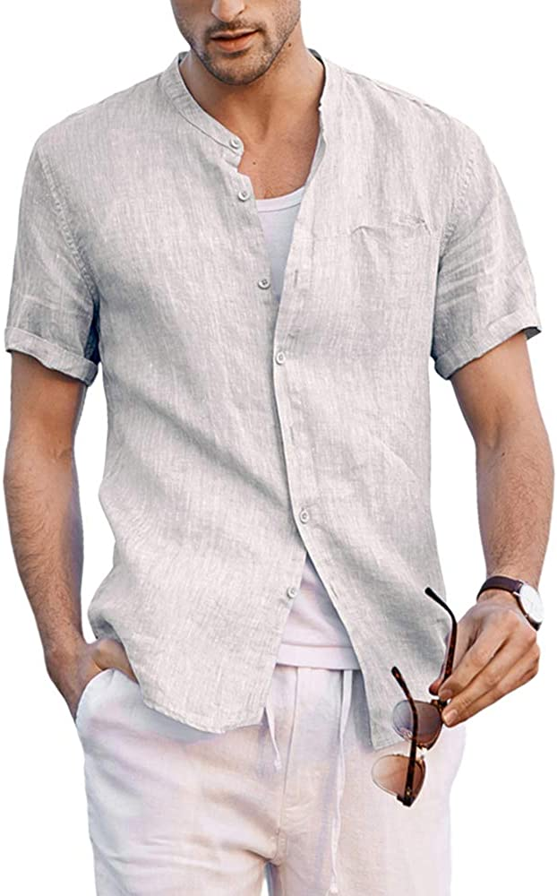 Mens Short Sleeve Linen Shirt Casual Banded Collar Yoga Top Summer Hippie Beach Shirts