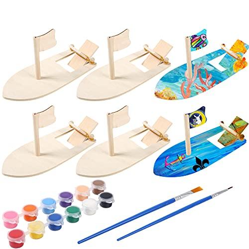FORMIZON Mini Madera Barco Bricolaje, 6 Piezas Mini Velero DIY, Juguete Educativo Madera, Modelos de Mini Veleros, Creativo Madera Juguete Educativo para Niños Decoración de Pintura Bricolaje