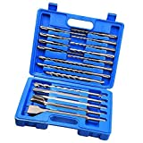 Albañilería Drill Bit Set de Martillo del cincel de Rotary Ronda mango del destornillador para hormigón y ladrillo con el azul del caso del almacenaje 17pcs Industria y Arte