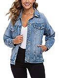 Tsher Women's Oversize Vintage Washed Denim Jacket Long...