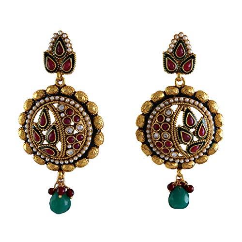 JewelryGift Fancy Dangle Drop Earrings Gold Plated Red Ruby, Emerald Studded Designer Baali Kundal Fashion Jewellery for Women Girls MY 55-RED-GREEN