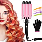 3 Barrel Curling Iron Wand Three Barrel Hair Waver Iron Hair Crimper Barrels with 4 Pieces Hair Clips and Heat Resistant Glove, Curling Waver Iron Heating Styling Tools (Pink)
