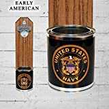 Wall Mounted Bottle Opener with US Navy Tin Can Cap Catcher