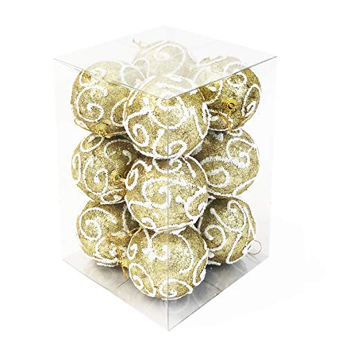 allgala Christmas Tree Ornament Balls, 12 PK Glitter Decorated Foam 3' Large Gold Xmas Ball