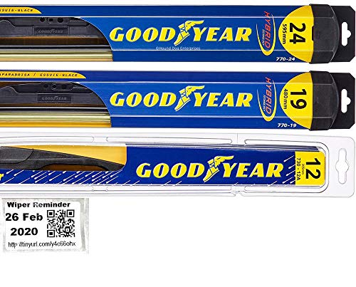 Windshield Wiper Blade Set/Kit/Bundle for 2009-2019 Dodge Journey - Driver, Passenger Blade & Rear Blade & Reminder Sticker (Hybrid with Goodyear Rear)