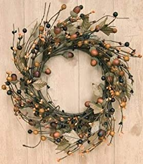 Country Mix Acorn Pip Berry Wreath Fall Autumn Tone Leaves Country Primitive Floral Décor