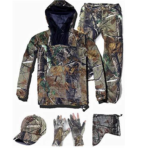 L'été Ultra-Mince Bionic Camouflage Costume Anti-Moustiques Pêche Chasse Vêtements Tactique Ghillie Costumes T-shirt Pantalon Ensemble, Veste pantalon casquette, Taille L