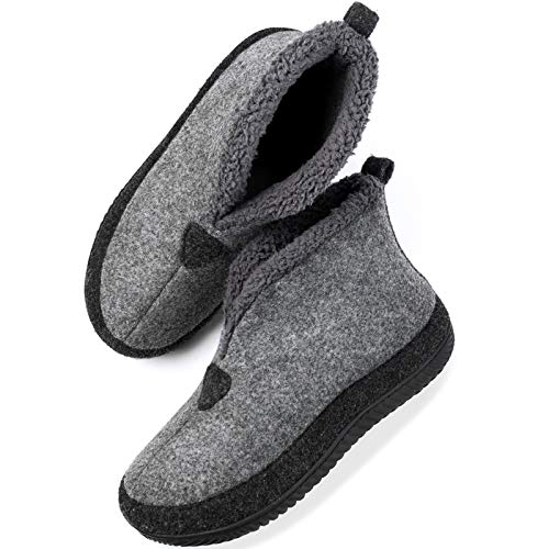 ULTRAIDEAS Men's Cozy Slippers with Memory Foam, Wool-Like Felt House Shoes with Anti-Slip Rubber Sole ( Grey , Size 11 )