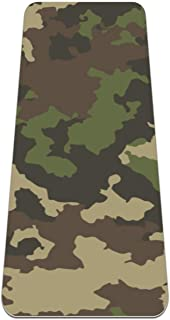 """Siebzeh Army Green Camouflage Premium Thick Yoga Mat Non Slip for Home Exercise Fitness Yoga and Pilates (72"""" x 24""""x 6mm)"""