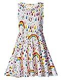 uideazone Girls Rainbow Smile Sleeveless Dress Summer Maxi Dress 8-9 Years