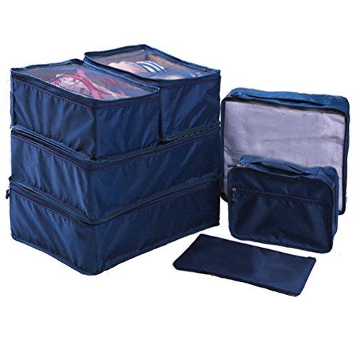 Ewparts 7 Pezzi nylon impermeabile Travel Packaging composizione organizzatori, Viaggi bagagli imballaggio cubi Borse essenziali, Abbigliamento valigia bagaglio deposito borse lavanderia (Dark blue)