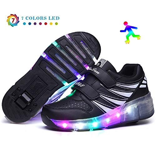 Unisex Kids LED Roller Schuhe Single Wheel Roller Skate Schuhe Jungen Kinder Turnschuhe Mädchen Trainer Skateboard Schuhe,Black-41
