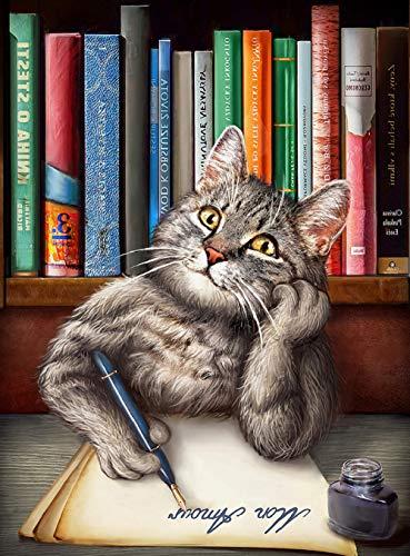 Pintura por números para adultos y niños,pintura en lienzo de DIY, recuerdos de arte navideño dibujo,arte de decor de la pared del hogar (sin marco, 40x50cm) - Carta de escritura de gato