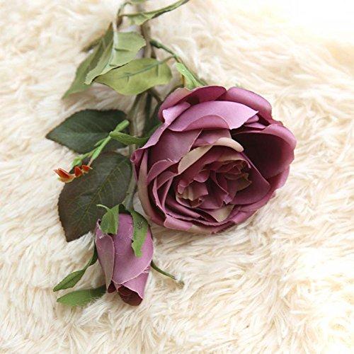 Vovomay Flores Artificiales Hoja, Flores Falso Seda Rosas Reales ...