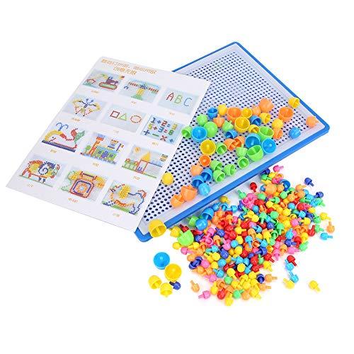 Pssopp 296Pcs Mosaik Spielzeug Lernspielzeug Steckmosaik Steckmosaik Bunte Steckspiel Kinder Lernspielzeug Pädagogisch Spielzeug für Junge Mädchen Geburtstag Party Geschenk