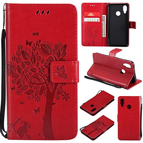 Shinyzone Hülle für Huawei P20 Lite Flip Brieftasche Leder Hülle,Niedlich Karikatur Geprägte Katze & Baum Muster Kartenfach Magnetverschluss mit Ständer Handyhüllen für Huawei P20 Lite,Rot