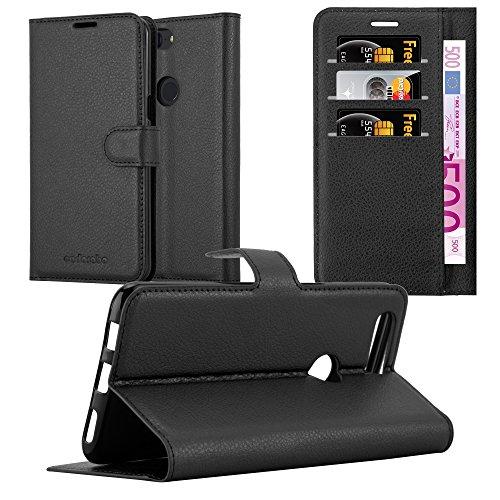 Cadorabo Hülle für OnePlus 5T in Phantom SCHWARZ - Handyhülle mit Magnetverschluss, Standfunktion & Kartenfach - Hülle Cover Schutzhülle Etui Tasche Book Klapp Style