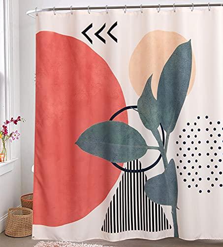 RoomTalks Modern Abstract Fabric Shower Curtain Extra Long 78-Inch Aesthetic Contemporary Art Bathroom Shower Curtains Set Boho Cute Terracotta Decorative Bath Curtain (72''W x 78''L, Cream)
