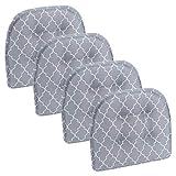 Klear Vu Trellis Tufted Non-Slip Geometric Dining Chair Cushions, Set of 4, Gray