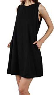Somewell Women's Sleeveless Dress,Pockets Casual Swing T-Shirt Loose Dress S-XXL