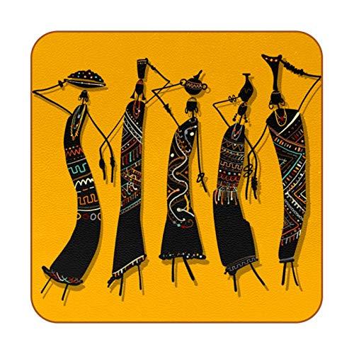 Bennigiry Lot de 6 sets de table carrés en cuir avec carafes Motif femme africaine