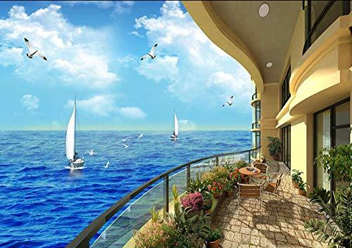 Aegean Sea View House Möwe 3D Wallpaper Riesen Wandbilder Effekt Wanddekoration fototapete 3d Tapete effekt Vlies wandbild Schlafzimmer-250cm×170cm