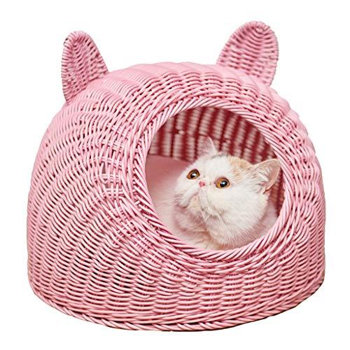 Wasbaar Cat Bed Rotan Kattenmand Huis Seizoenen Universele Gezellige Ademende Huisdier Nest, M, roze