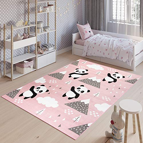 Tapiso Jolly Alfombra Cuarto de Niños Juvenil Diseño Moderno Rosa Negro Blanco Panda Juego Resistente Fina 80 x 150 cm
